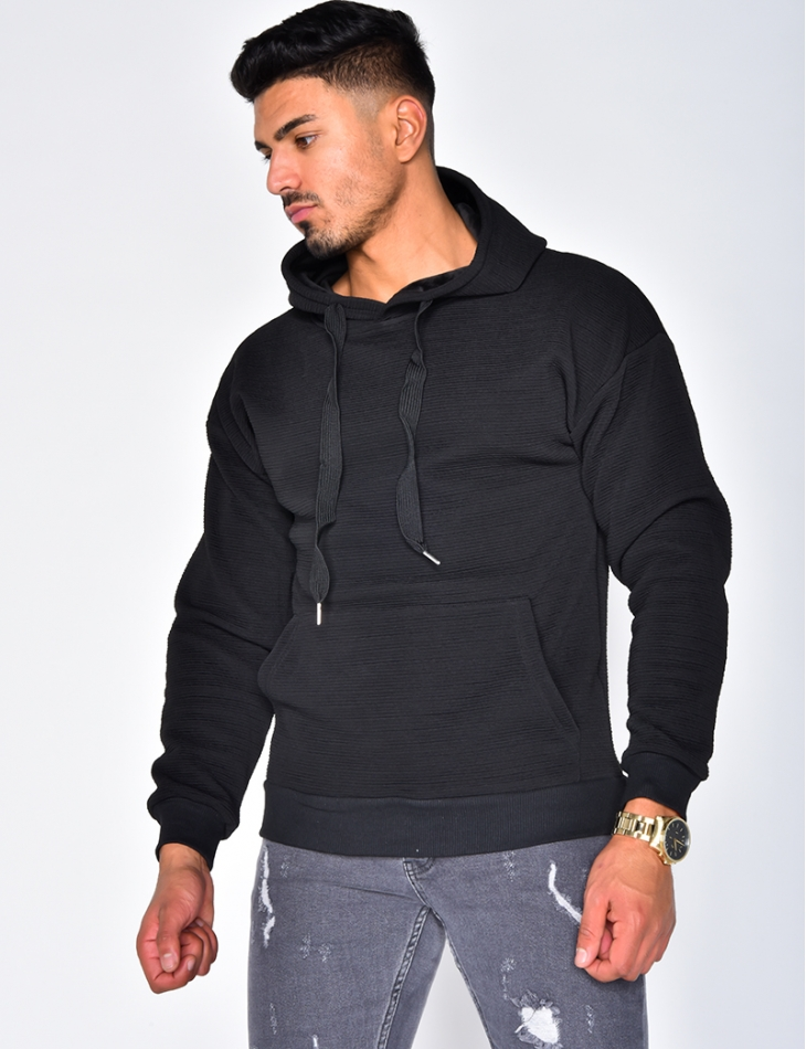 Textured Sweatshirt with Hood