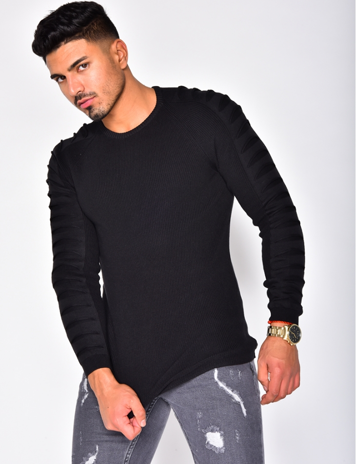Round Neck Jumper with Raised Sleeves