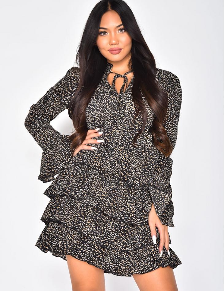 Robe à volants motifs léopard