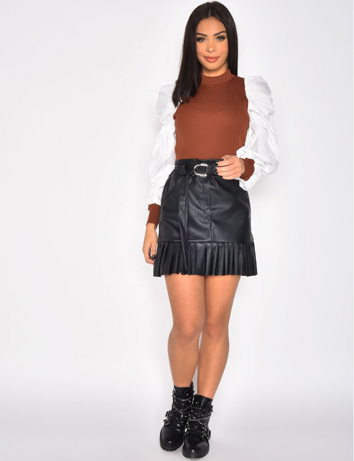 Shirt-style Ribbed Jumper with Puff Sleeves