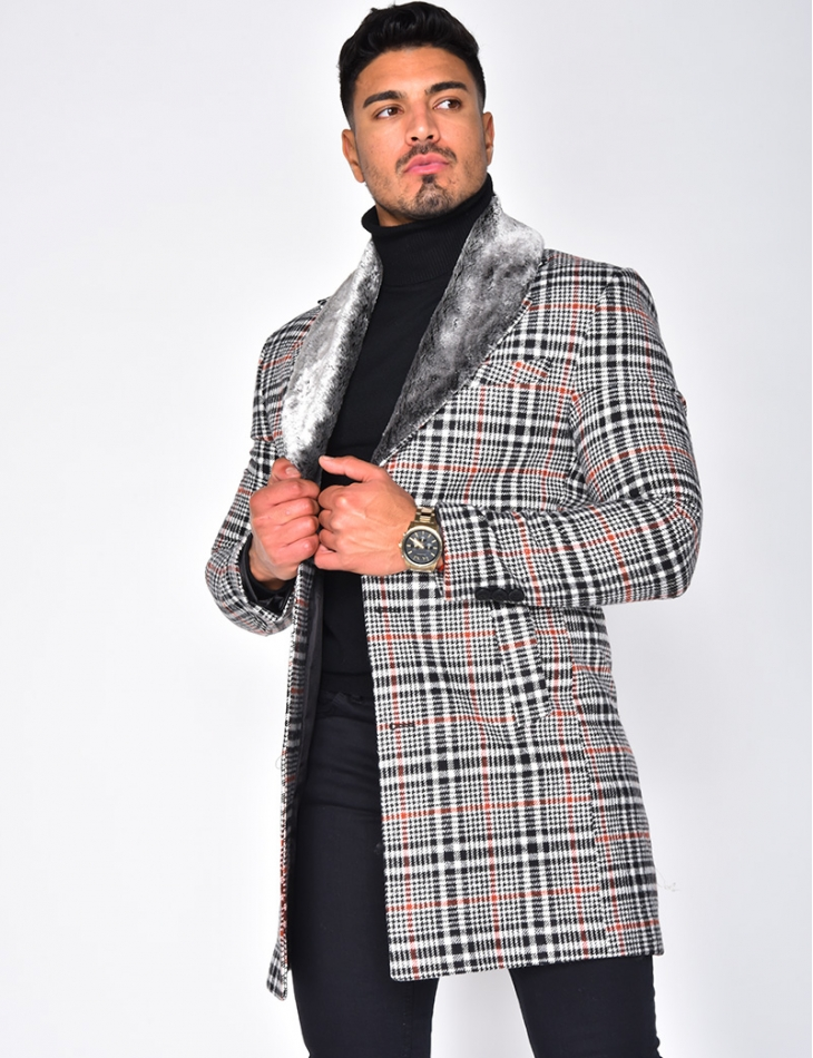 Checked Coat with Fur Collar