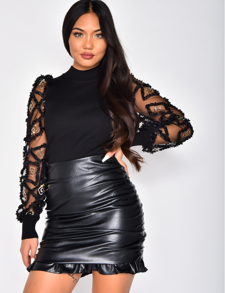 Ribbed Top with Voile Sleeves and Sequins