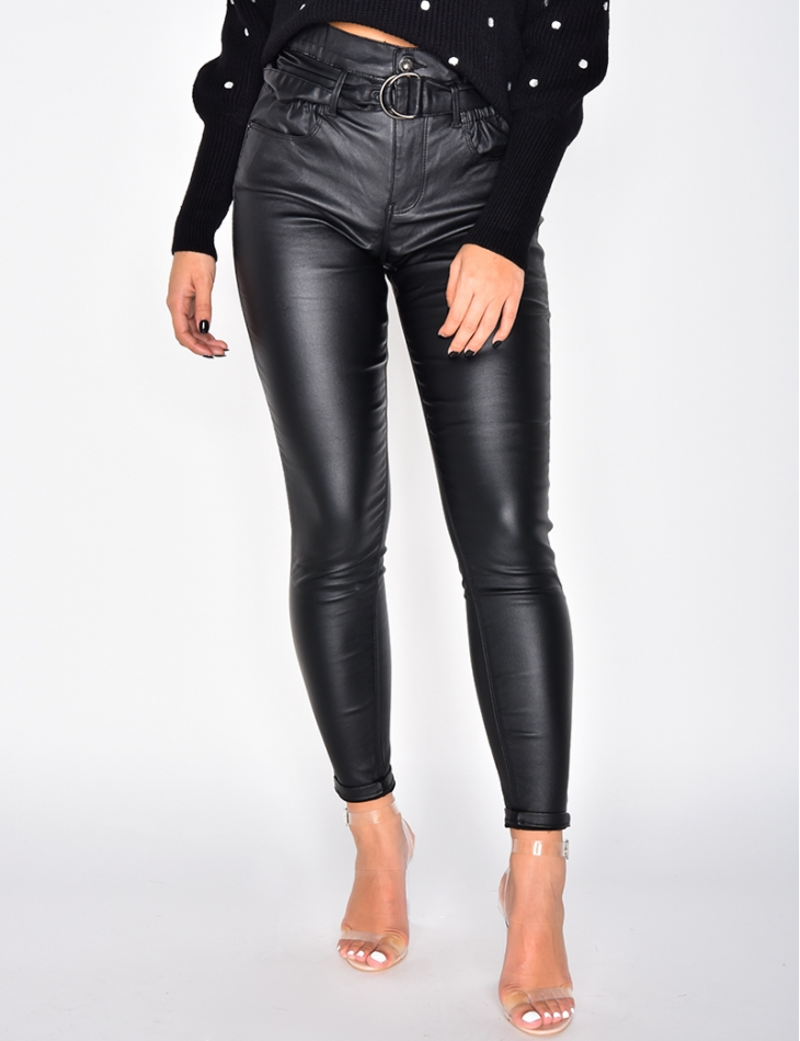 High Waisted Oiled Trousers with Belt