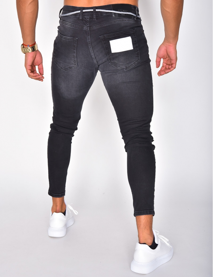Ripped Jeans with Reflective Inserts