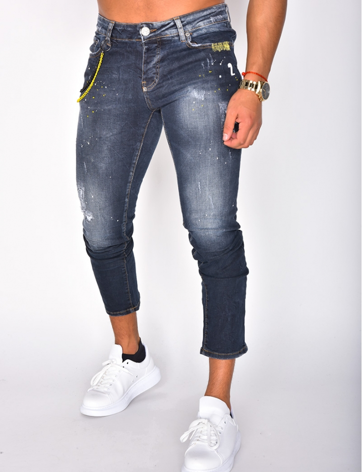 Speckled Jeans with Yellow Chain
