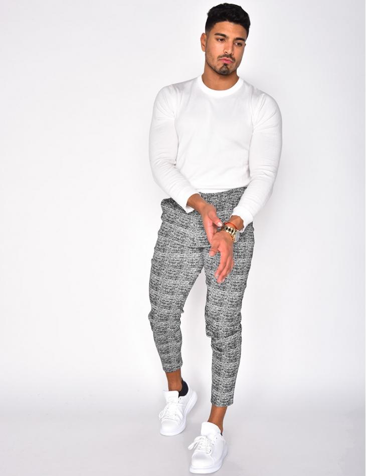 Pantalon chiné à carreaux