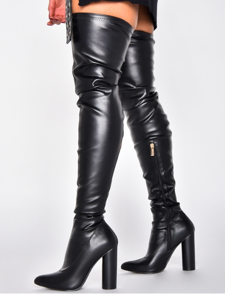 PU Leather Heeled Thigh High Boots