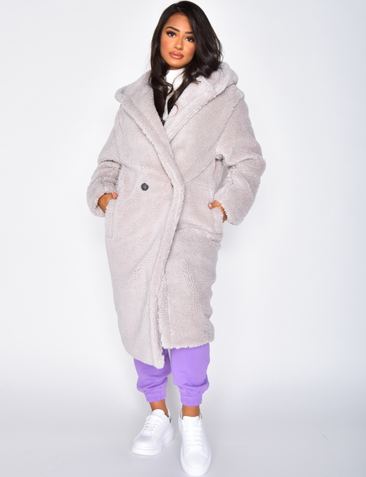 Light Grey Mid Length Faux Fur Coat with Hood
