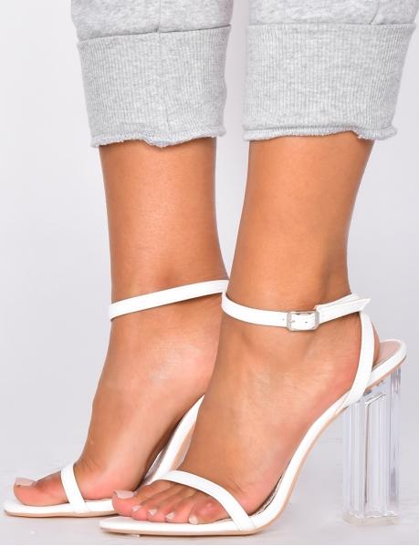 Sandales minimaliste à talon en plexi