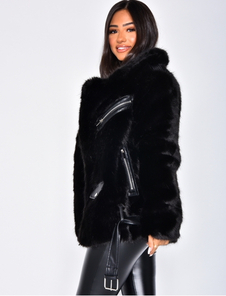 Premium Faux Fur Jacket with Zips