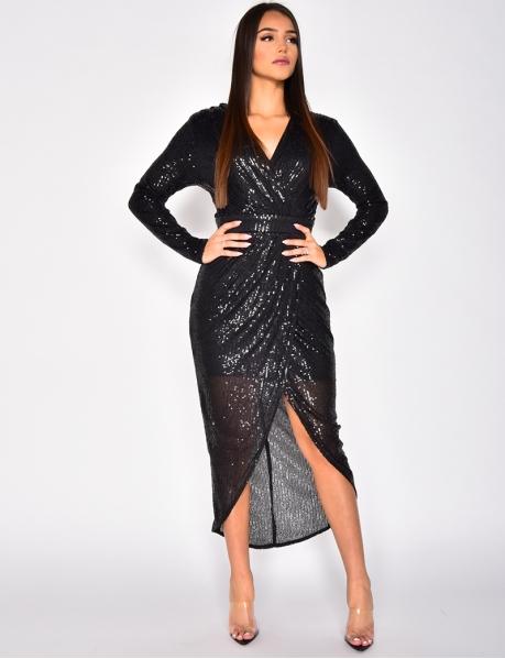 Long Sequin Wrapover Dress