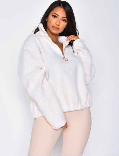 Sheepskin Sweatshirt with Zip