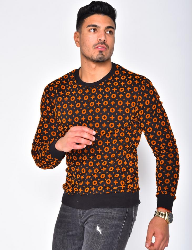 Patterned Sweatshirt with Round Neckline