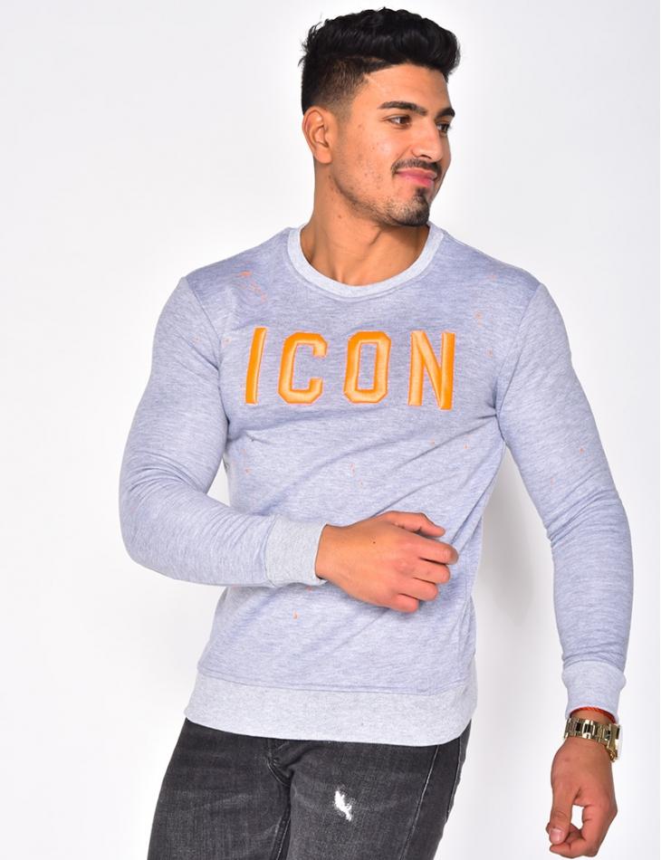 """""""ICON"""" Sweatshirt with Round Neckline"""