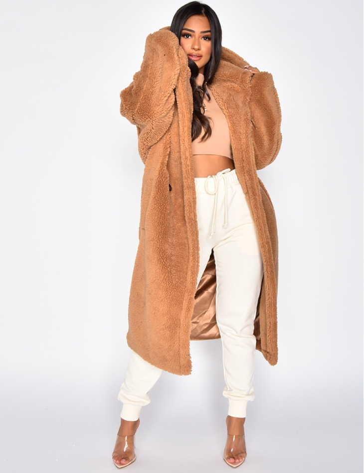 Brown Mid Length Faux Fur Coat with Hood