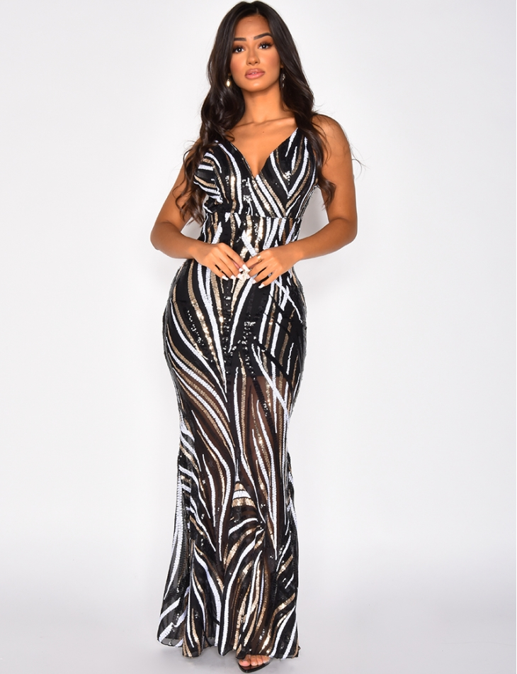 Long Backless Dress with Sequins