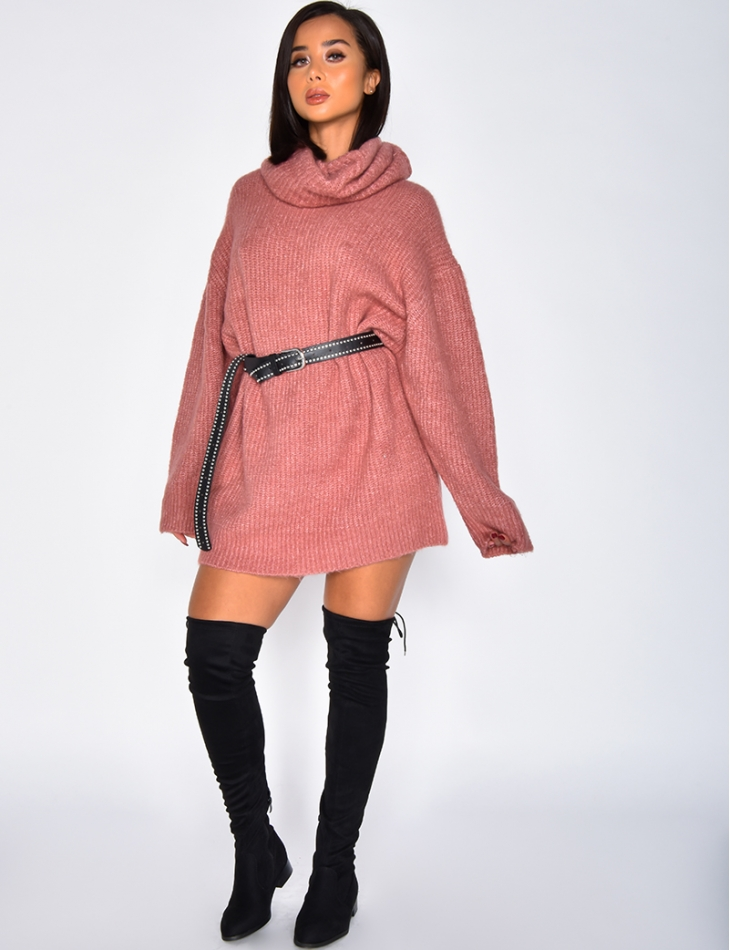 Robe pull oversize col roulé
