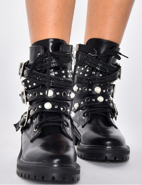 Ankle Boots with Straps and Rhinestones