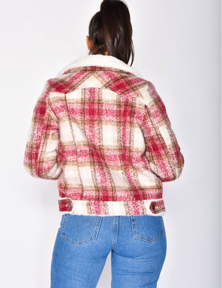Checked Fur-Lined Jacket