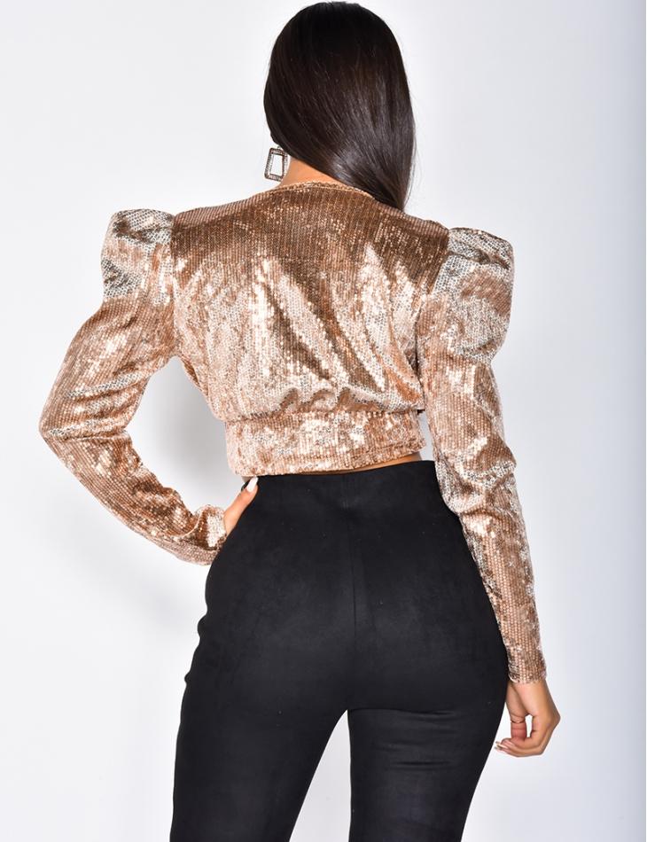 Long Sleeved Sequin Crop Top