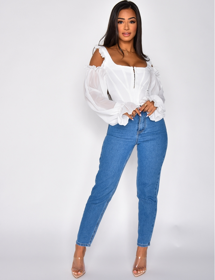 Off the Shoulder Crop Top with Voile Sleeves