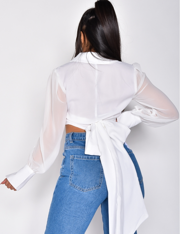 Long Sleeved Crop Top with Tie Up
