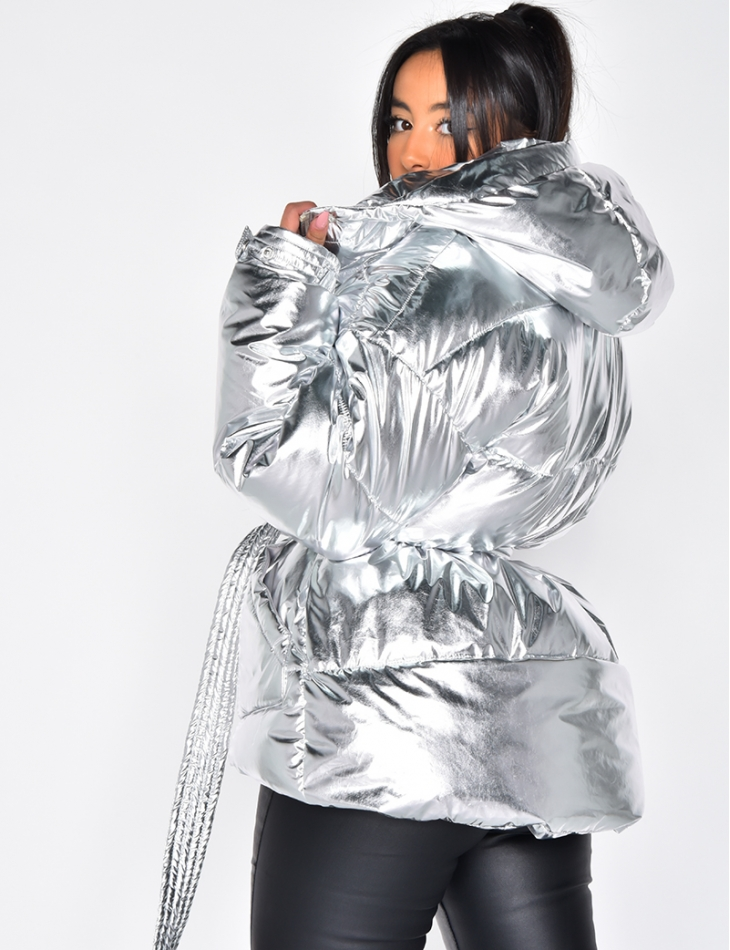 Silver Padded Jacket with Hood and Belt