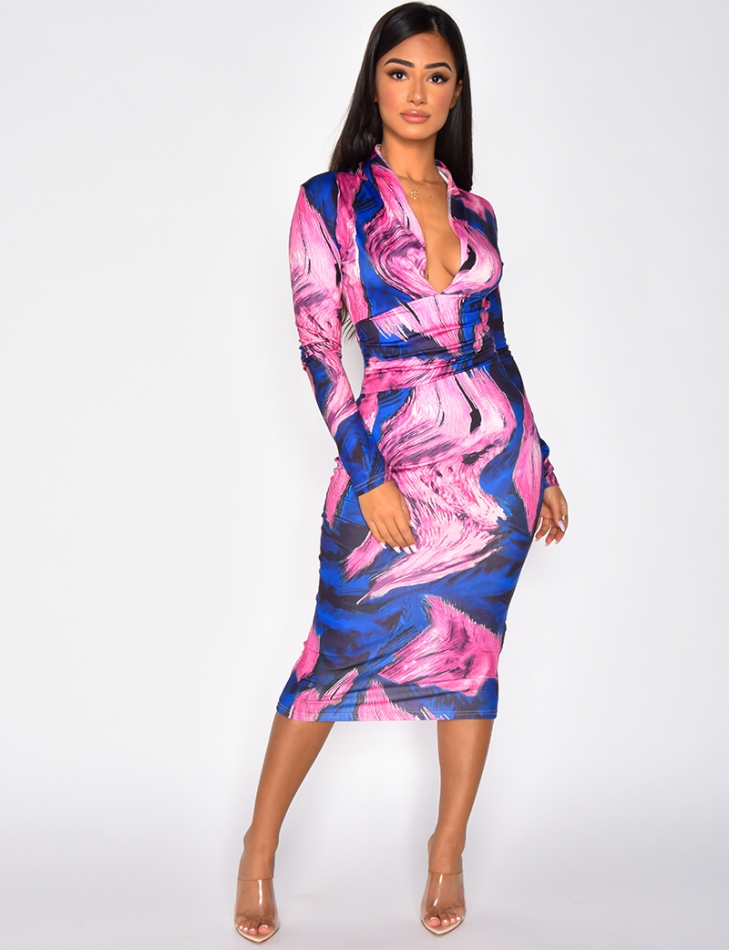 Long Sleeved V-neck Dress with Pattern