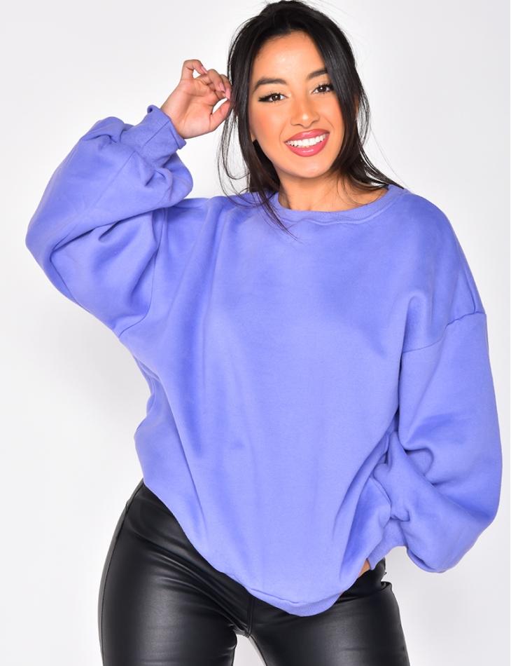 Oversized Basic Fleece Sweatshirt