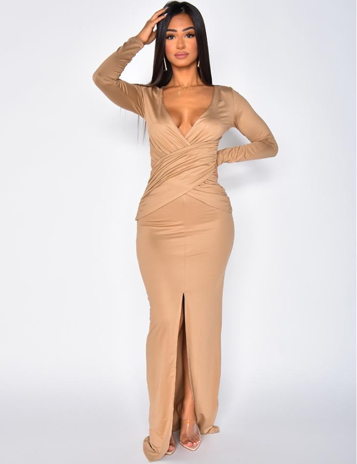 Crossover Style Long Sleeved Long Slit Dress