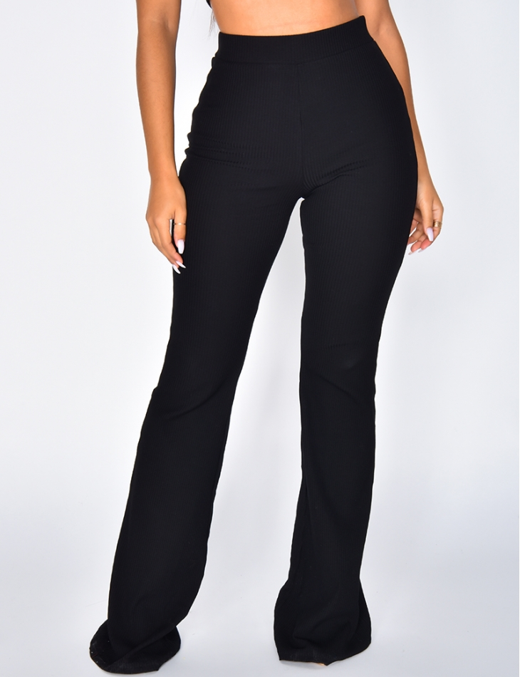 High Waisted Ribbed Trousers
