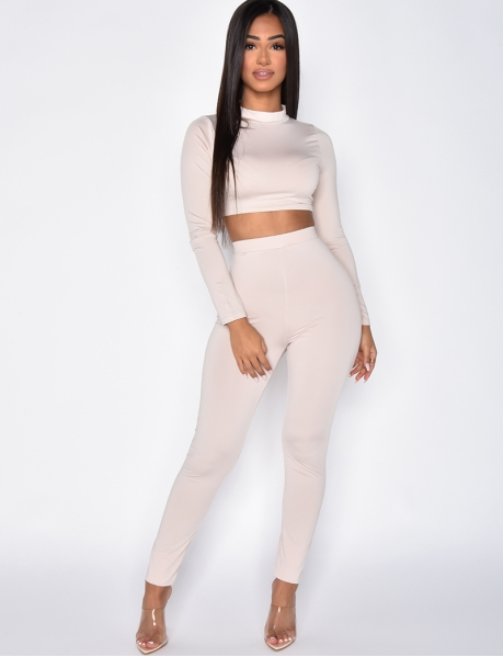 Long Sleeved Crop Top and Close Fitting Trousers Co-ord