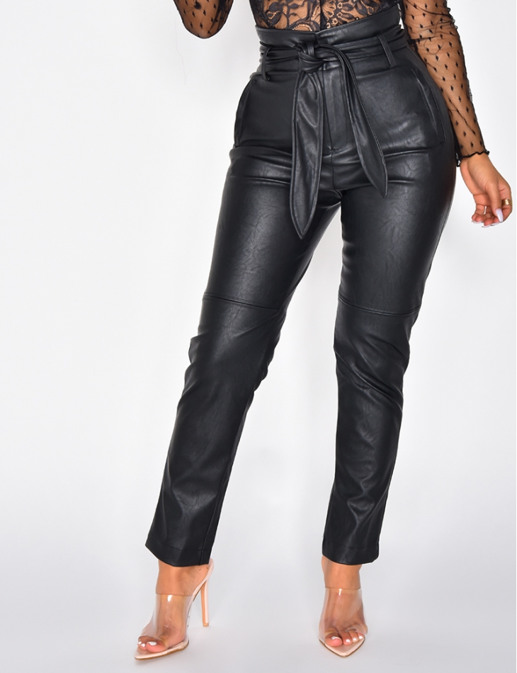 High Waisted PU Leather Trousers with Belt