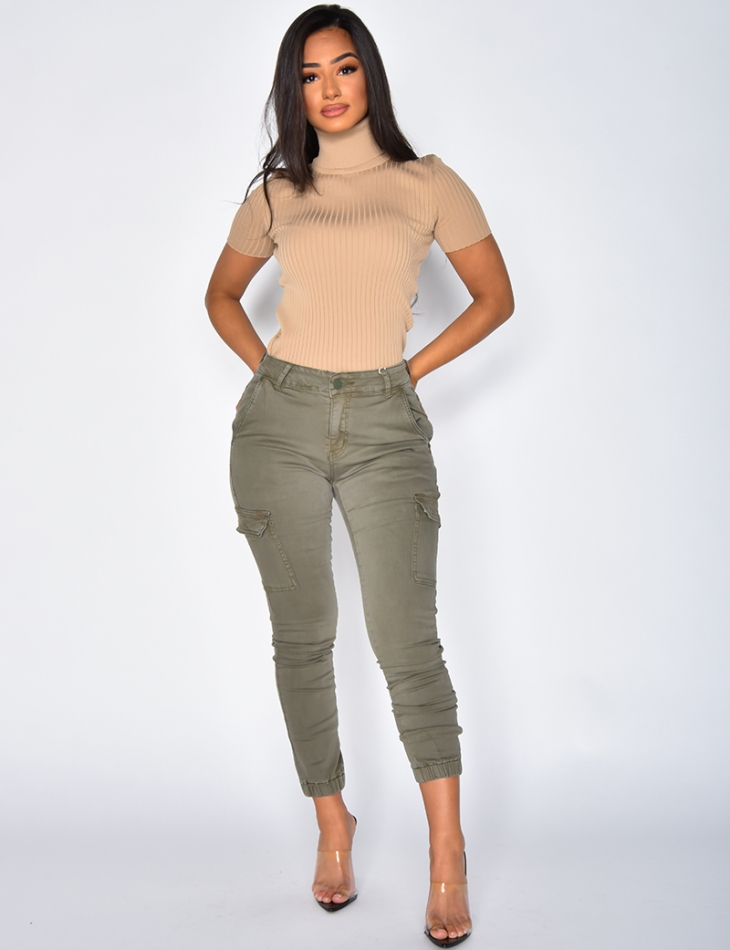 Jeans cargo kaki