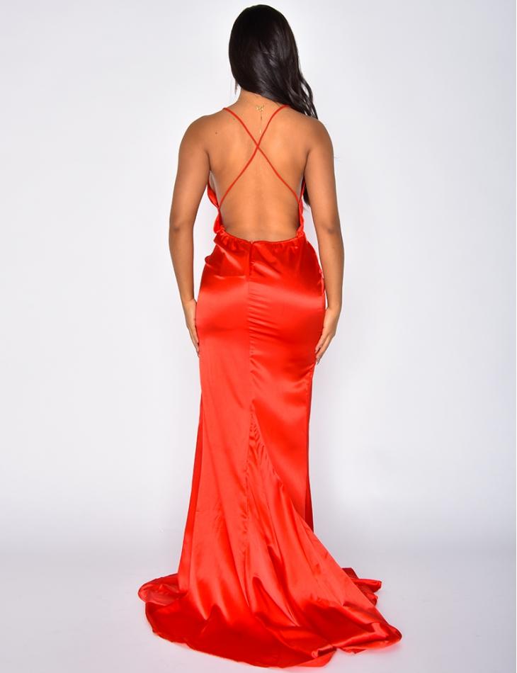 Long Satin Slit Dress