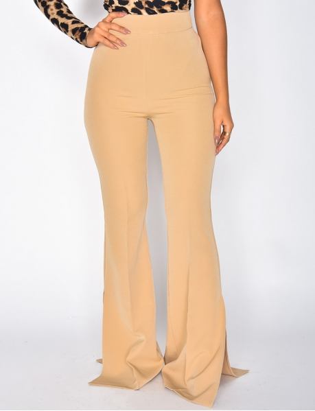 High Waisted Bell Bottom Trousers with Slits