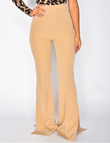 Pantalon taille haute patte d'eph à fentes