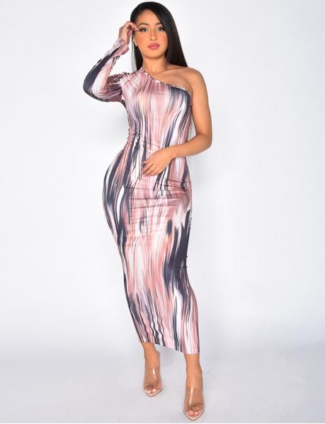 Long Asymmetric Dress with Pattern