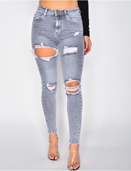 Ausgewaschene graue Jeans, destroy