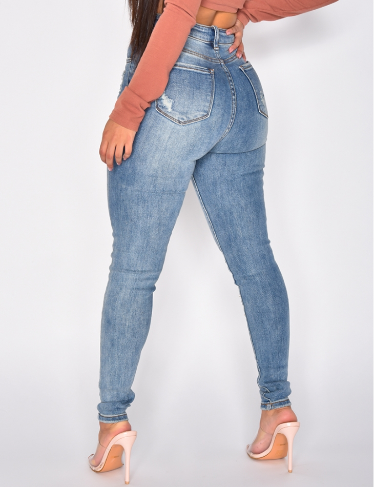 Very High Waisted Faded Jeans