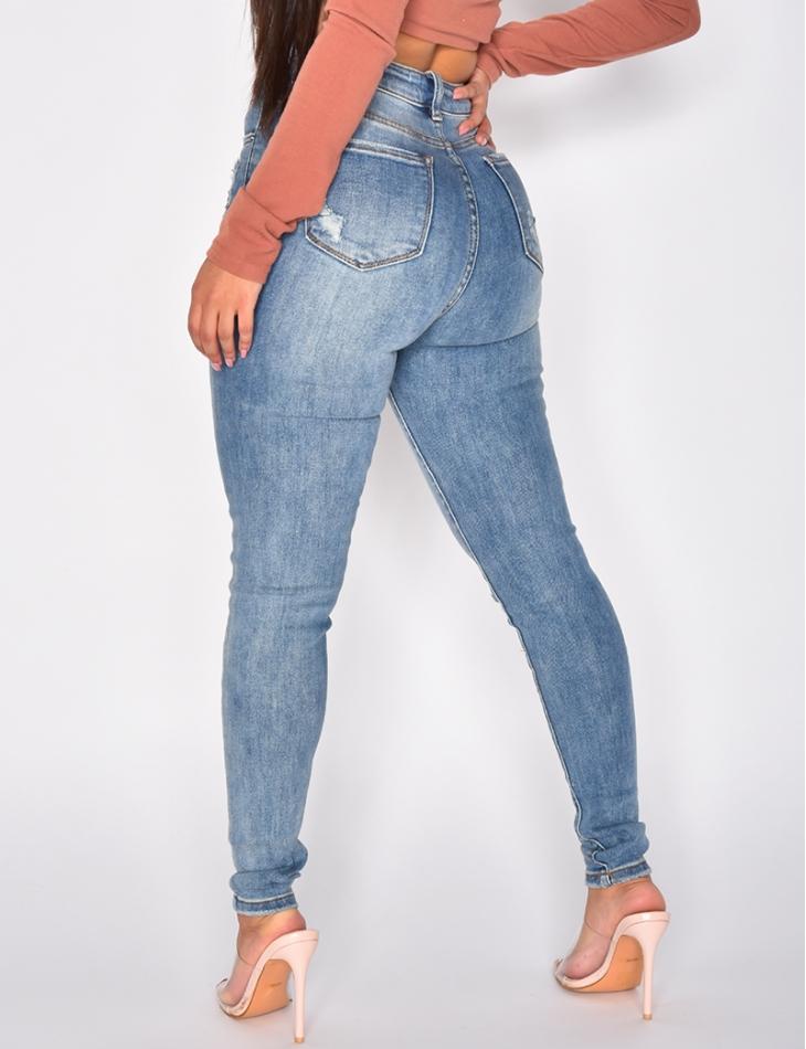 Jeans délavé super taille haute