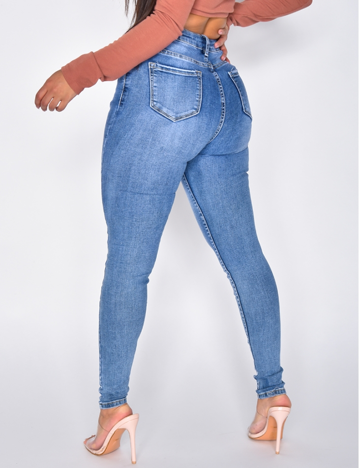 High Waisted Faded Blue Jeans