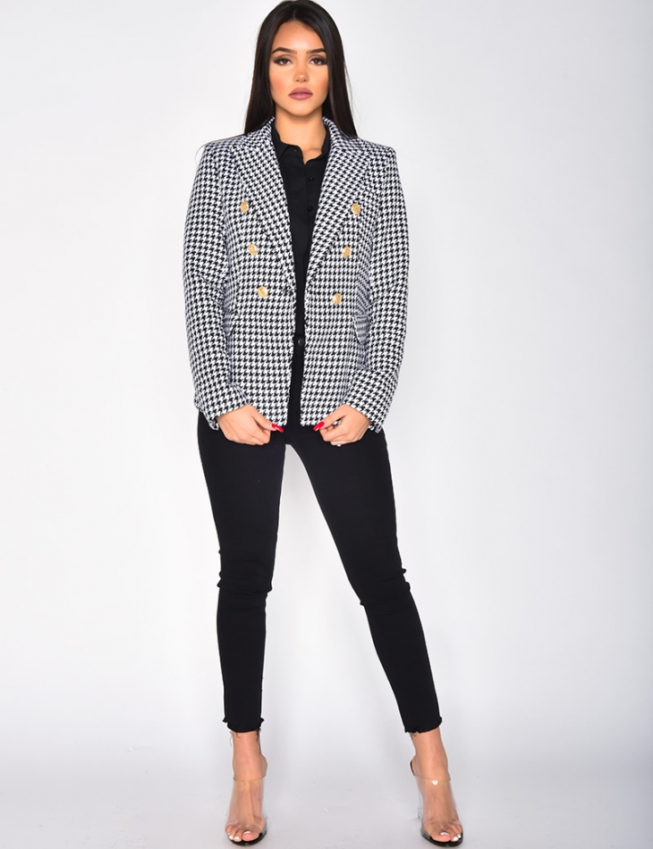 Fitted Houndstooth Blazer
