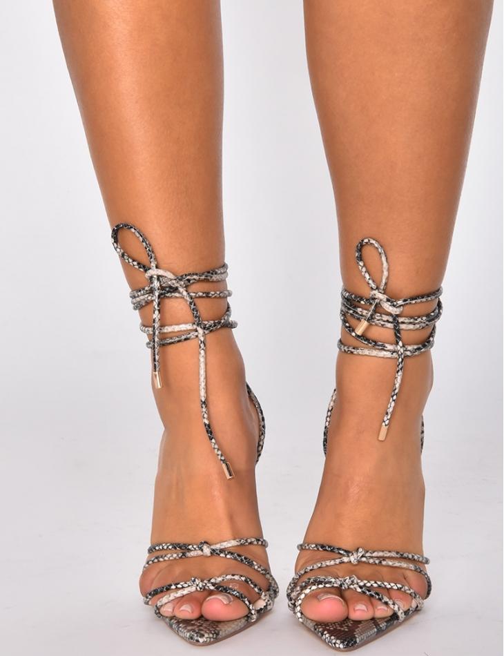 Sandales à talons lacets snake