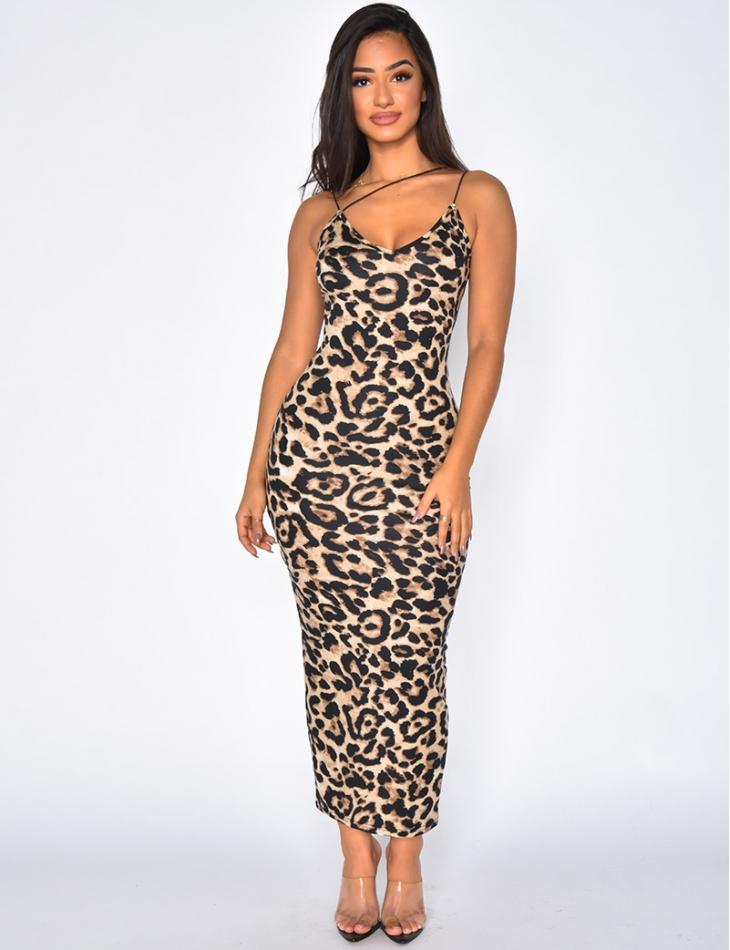 Robe longue à motif léopard