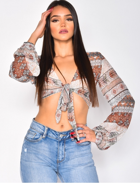 Crop top transparent motif western à nouer