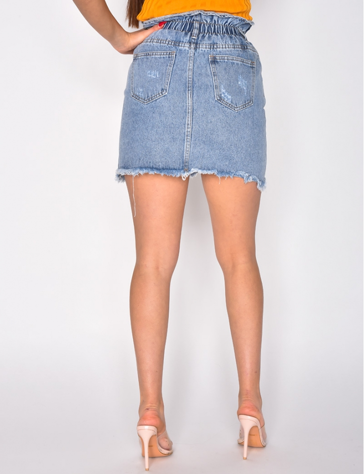 Ripped High Waisted Denim Skirt