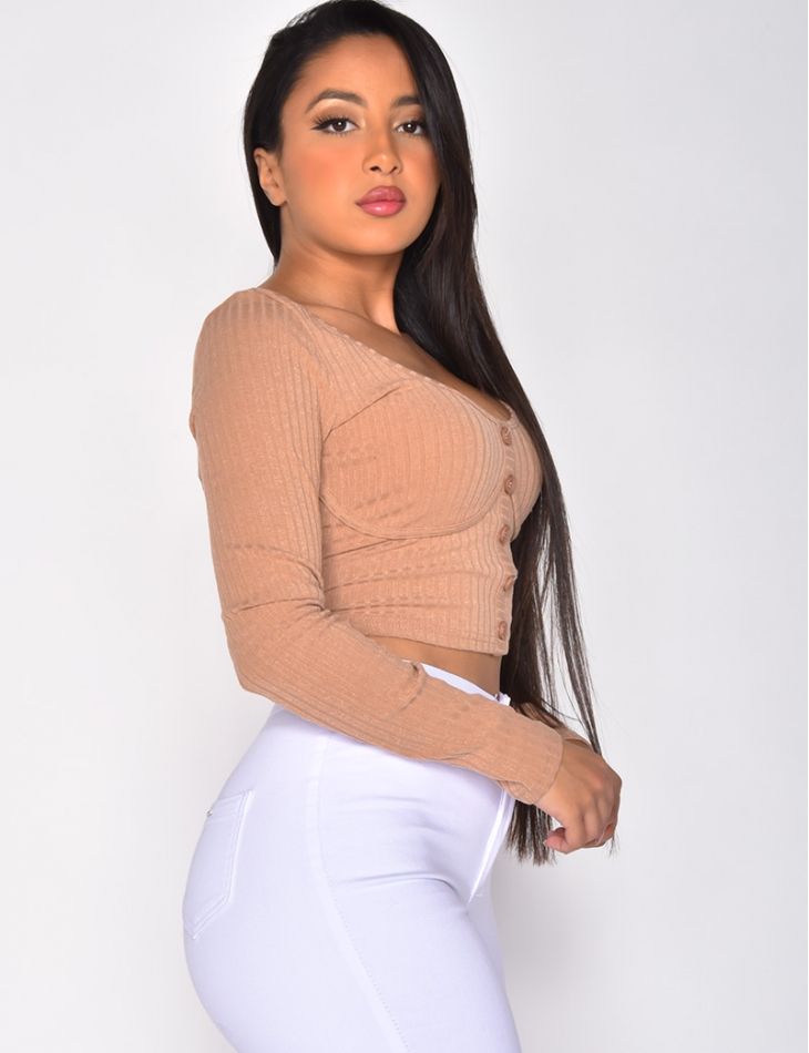 Long Sleeved Ribbed Crop Top with Buttons