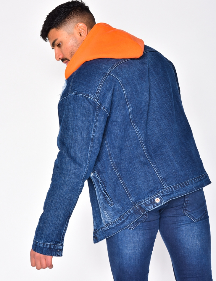 Denim Jacket with Orange Sweatshirt Hood