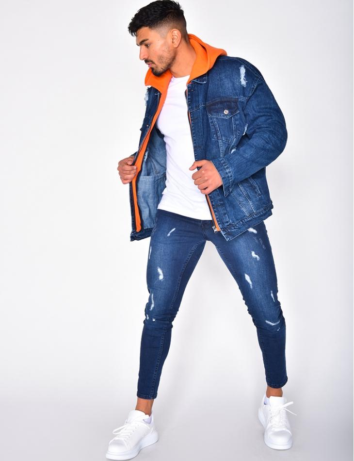 Veste en jeans à capuche sweat orange